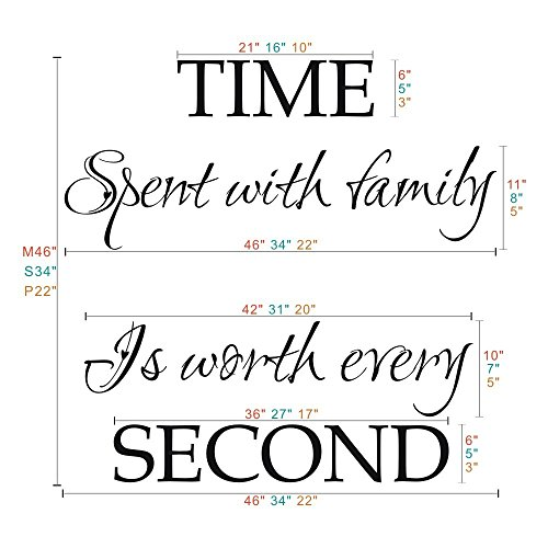 GECKOO-Time-Spent-with-Family-Is-Worth-Every-Second-Family-Lettering-Vinyl-Wall-Decal-Without-Clock-and-Picture-Frame-0-0
