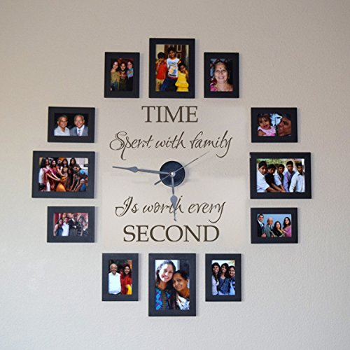 GECKOO-Time-Spent-with-Family-Is-Worth-Every-Second-Family-Lettering-Vinyl-Wall-Decal-Without-Clock-and-Picture-Frame-0