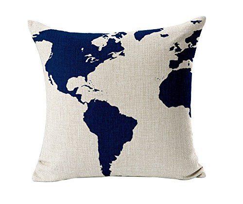 HOSL-Captain-Blue-Map-Cotton-Linen-Square-Decorative-Throw-Pillow-Case-Cushion-Cover-173173-Inch44CM44CM-0