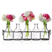 Set-of-5-Clear-Glass-Mini-Vases-in-Black-Metal-Rack-5-Inches-Decorative-Centerpiece-for-Flower-Arrangements-0
