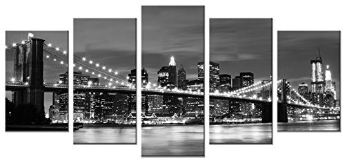 Wieco-Art-Broooklyn-Bridge-Night-View-5-Panels-Modern-Landscape-Artwork-Canvas-Prints-Abstract-Pictures-on-Canvas-Wall-Art-for-Home-Decorations-Wall-Decor-0