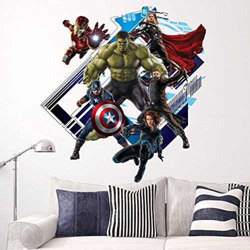 Yosa-3D-Avenger-Wall-Sticker-Baby-Kids-Room-Stickers-Cartoon-Home-Decor-Wallpaper-Poster-boys-room-decals-0-0