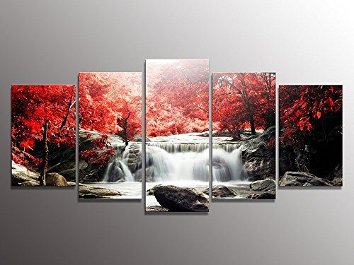 youkuart-kx9906-5-Piece-Red-Woods-Waterfall-Canvas-Print-Paintings-for-Wall-and-Home-Dcor-0